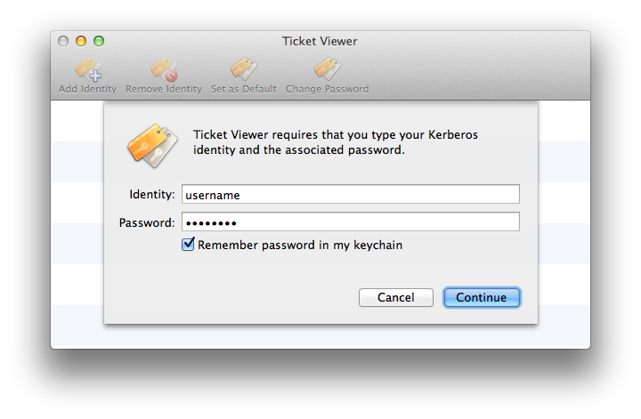 Screenshot of Ticket Viewer              Add Identity dialog box